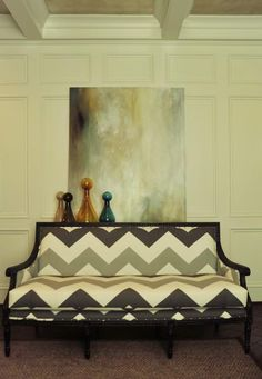 Chevron statement! Upholstery fabric is High Voltage in Smoke by Schumaker. Design by Beckwith Interiors. Via Decor Pad.