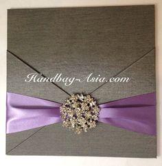 Silk Invitation Pad With Rhinestone Crystal Brooch