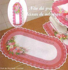 \ PINK ROSE CROCHET /: Jogo de Banheiro pink rose
