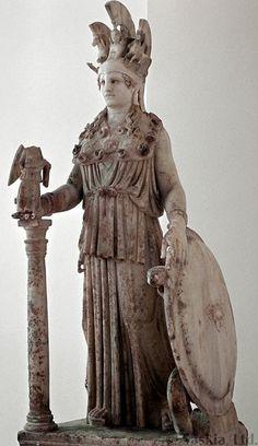Imperial Roman marble miniature copy, 2nd c. AD, of the colossal chryselephantine Athena Parthenos, ca. 432 BC, by Pheidias.