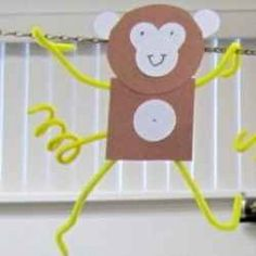 Super easy monkey craft. monkey craft, pom craft, children craft, easi monkey