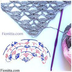 Crocheted silk blend shawl  - triangular shawl
