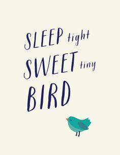 Sleep Tight Sweet TINY bird || Nursery Art by Ladybird Ink $16.00 on etsy 3 colors available #nursery #decor #kids #ladybirdink