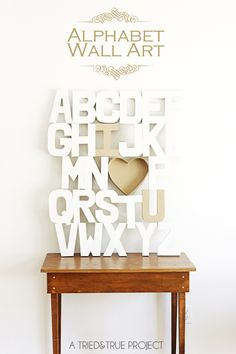 """""""I Heart You"""" 3D Alphabet Art - Inexpensive way to make a large art piece! #diy #art"""