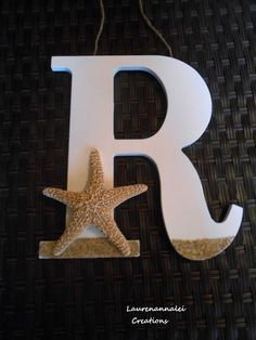 """Etsy, under Nautical Decor, I LOVE this!! I wonder what """"H"""" would look like?? :D ; Wooden Letter  Starfish Decor  Beach House Decor  by LaurenAnnaLei, $24.00"""
