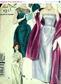 Vogue Special Design 4140; ©1960; One Piece Dress, Jacket and Stole. Skirt in two lengths with released dart pleats and deep pleat either side of