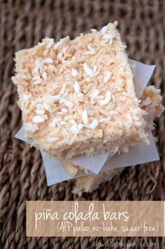 Piña Colada Bars :: Gluten, Grain, Dairy, Egg, Nut, and Seed Free, Autoimmune Paleo // deliciousobsessions.com