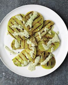 Grilled Green Tomatoes with Creamy Basil Sauce Recipe