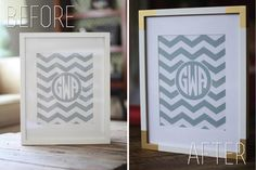 Easy way to update your frame - spray paint gold corners - The Blissful Bee