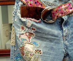 patch work, sock monkeys, jeans style, seat, belt, jean skirts, bohemian style, parti, old jeans
