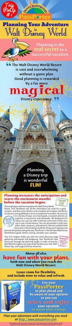 'Planning is the secret to a successful vacation.' From page 1 of chapter 1 of the award-winning PassPorter's Walt Disney World guidebook. Love!