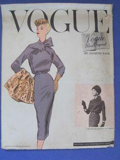 VOGUE PARIS ORIGINAL 1349, JACQUES FATH 1956 - RARE; Bust 32; Unused; acquired on eBay 9/17/12 for 100 dollars