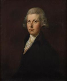 """From the website: """"William Pitt the Younger is dressed in a dark blue coat with brass buttons and a white neckcloth. He also has powdered hair. This portrait of the former Prime Minister is copied from a work by Gainsborough Dupont, the nephew of Thomas Gainsborough. It is one of numerous portraits of Pitt by Dupont, which are all thought to be based on an earlier, original, painted by Gainsborough himself. Gainsborough's original work is now untraced."""" Go to the website - you can zoom right in!"""