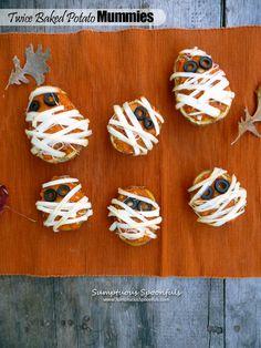 Twice Baked Potato Mummies | Sumptuous Spoonfuls #fun #Halloween #potato #glutenfree #sidedish #recipe