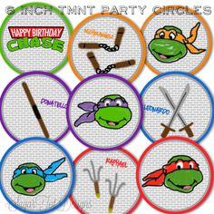 Teenage Mutant Ninja Turtle Inspired Party Circles, TMNT Birthday Party Decor - PRINTABLE. $6.00, via Etsy.