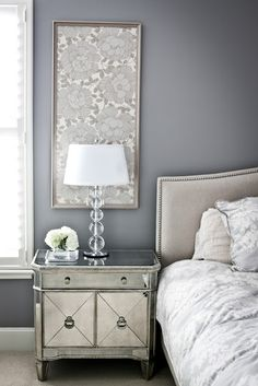 wall colors, frame, color schemes, nightstand, paint colors, bedside tables, wallpaper art, night stands, bedroom