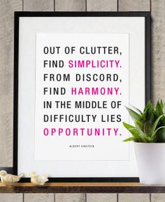 Simplicity Harmony and Opportunity inspirational by Posterinspired, $18.00