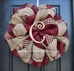 Rustic Fall Monogram Wreath in Burgundy and Burlap - Burgundy and Burlap Monogram Wreath