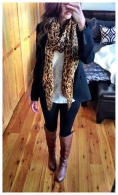 Fall outfit - riding boots, cheetah scarf, blazer, leggings