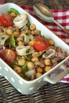 salada de lulas com grão