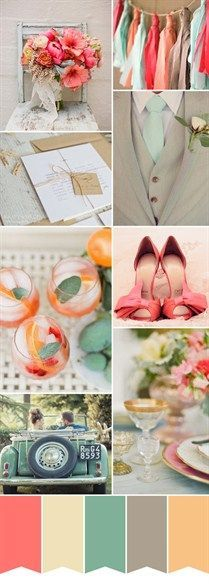 This is what I'm trying to achieve!! More green, less coral and no grey but definitely the right scheme....Great wedding color scheme!   Something Borrowed
