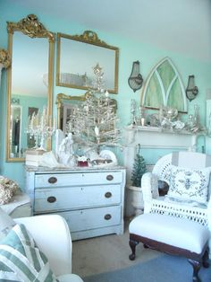 Shabby French Cottage: Christmas 2012--White and Sliver Decor