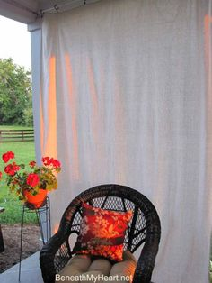 Outdoor shade curtains made from canvas drop cloth--tutorial--would be great under Cooper's playhouse for a sitting area/ shady play spot