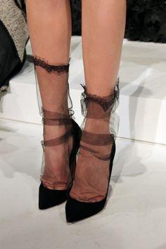 slouchy sheer socks at Marchesa