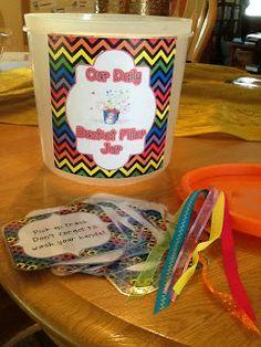 Bucket filler jar idea with free printable!