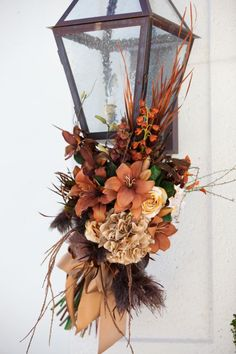 Gorgeous Fall Topiary Centerpieces for Sale! :  wedding centerpieces decorations flowers ivory reception topiaries Outdoor Sconce