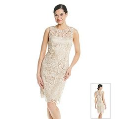 Rehearsal Dinner Dress | Adrianna Papell Sleeveless Illusion Lace Dress available at Herberger's.