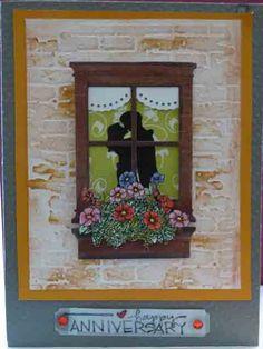 1st anniversary.  Tim Holtz brick embossing folder, Memory Box small Madison Window