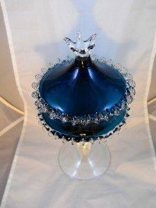 Blown Glass Antique Candy Dish Aqua Antique $150.00