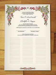Custom Marriage Certificate - Garden Wedding