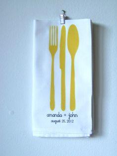 80 Handmade Printed Wedding Shower Favor Napkins Eco-Friendly $390.00, via Etsy.