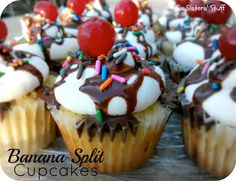 Banana Split Cupcakes on SixSistersStuff.com - these have actual bananas in the cake batter. So good!