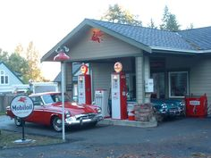 Old Timey Gas Station and signs
