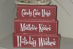 CANDY CANE hugs decorative wooden blocks