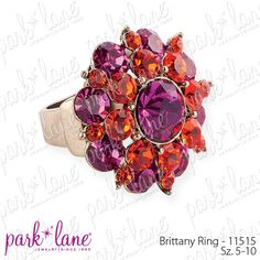 The Brittany ring by Park Lane is made of genuine Austrian crystals in fuchsia and tangerine orange arranged in a spectacular circular design. The burnished gold setting and ring shank highlight the sparkle of the glittering gems.