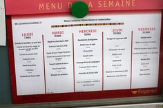 This is a school lunch menu from France - Chocolate Mousse? Flan? Beignets? Wow.