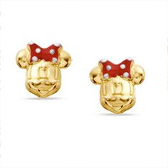 Childs Enamel Minnie Mouse Stud Earrings in 14K Gold - PAGODA.COM