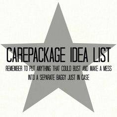 Care package Idea: Put anything that could open and make a mess in a separate sealed baggy.   ** Repinning some of our most popular Pins.  Be sure to follow all of our boards at http://pinterest.com/MilitaryAvenue **