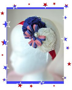Hair bow - Red, White & Blue Shabby Chic 4th of July hair bow. $11.00, via Etsy.