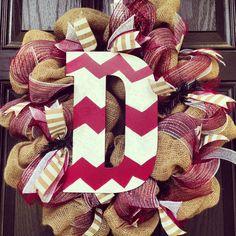 burlap chevron wreath.