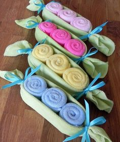 Pea Pod Washcloths - great as a baby gift or decor for the #babyshower!