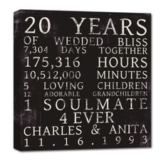 ... Anniversary Gifts, 50 Anniversary Gift Ideas, 20 Gifts For 20 Years