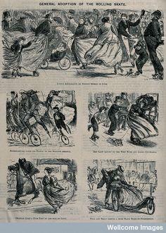 V0041100 Men, women and children are using roller skates.  © Wellcome LIbrary, London.