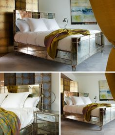 We love this bed in antique mirror finish! It is priced from 5,250.00 GBP and will be the perfect addition to any bedroom. www.themirroredbedcompany.com