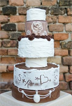 rustic chic chocolate wedding cake http://www.weddingchicks.com/2013/10/24/pastel-wedding-inspiration/