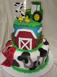 John Deere tractor birthday cake with cow print
